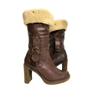 Retro 70s Browns High Heel Leather Boot Faux Fur 8
